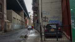 Stock Video Footage of Desolate Alley New York City Chinatown NYC Deserted Dangerous Graffiti Street