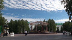 Types of Khanty-Mansiysk. Central Square. Stock Footage