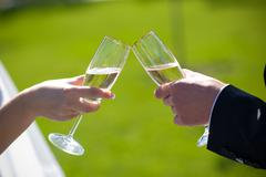 Champagne in hands Stock Photos