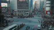 Stock Video Footage of Pedestrians on the busiest crossing in the world in Shibuya, Tokyo