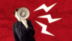 Megaphone speak spaking Stock Footage