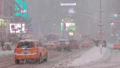 Snow Blizzard in New York City Times Square - stock footage
