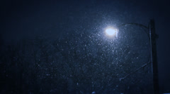 Snowfall 3am | street lamp | heavy snow at night Stock Footage