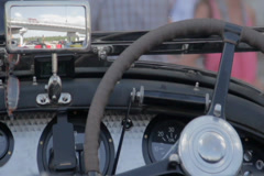 Retro vehicle front panel, rear view mirror, vintage speedometer, click for HD - stock footage