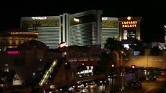 The Mirage Las Vegas Casino and Resort Hotel at night Stock Footage