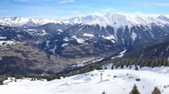 View to Montafon valley from Golm ski resort in Austria, Europe Stock Footage