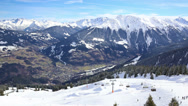 Stock Video Footage of View to Montafon valley from Golm ski resort in Austria, Europe