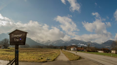 Tirol Austria rooms for rent roadside time lapse HD Stock Footage