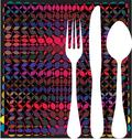 Stock Illustration of fork, spoon and knife on table