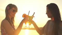SLOW MOTION: Raising glasses by the seaside at sunset Stock Footage