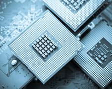 computer cpu (central processor unit) chip - stock photo