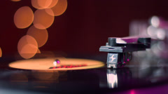 4k Record Player with hand placing needle Stock Footage