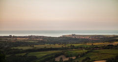 4K sunset time lapse of Whitby and the moors in North Yorkshire, UK Stock Footage