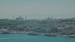HD video of the Istanbul skyline with it's famous Mosques and the Bosphorus Stock Footage