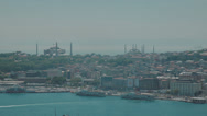 Stock Video Footage of HD video of the Istanbul skyline with it's famous Mosques and the Bosphorus