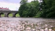 Stock Video Footage of River bridge over the Wharfe at Grassington
