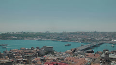 Aerial view of the stunning city of Istanbul and the Bosphorus in HD Stock Footage