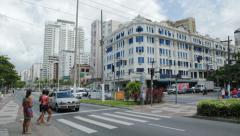 Traffic in the city - Santos Beach, Sao Paulo, Brazil. 82 - Pres Wilson avenue Stock Footage