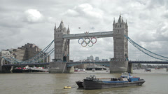 London's Tower Bridge with the Olympic Rings - stock footage