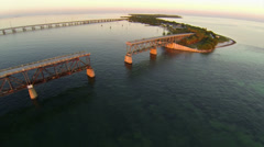 Aerial view of the Florida Keys, Bahia Honda State Park and Old Bridge Stock Footage