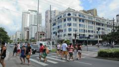 Traffic in the city - Santos Beach, Sao Paulo, Brazil. 83 - Pres Wilson avenue Stock Footage
