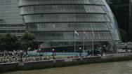 London's south bank and city hall near Tower Bridge Stock Footage