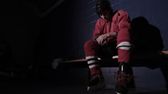 Hockey Player Before Game - stock footage