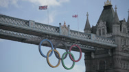 Tower Bridge during the London 2012 Olympics Stock Footage