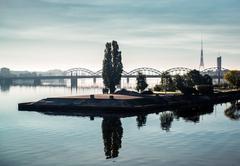 beautiful view of riga city, latvia - stock photo