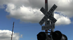 RailRoad Crossing Sign Small Town Stock Footage