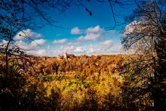 turaida castle over picturesque autumn landscape. sigulda, latvia - stock photo