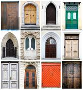 Collage of old-fashioned multicolored doors Stock Photos