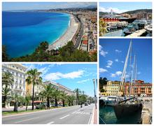 Collage of nice landmarks, france. Stock Photos