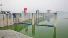 Panning shot of the Three Gorges Dam in China Stock Footage