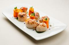scallops with salmon roe, crab meat - stock photo