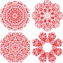 Stock Illustration of set of 4 one color round ornaments, lace floral patterns