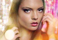 fashion portrait of beautiful young female over abstract background - stock photo