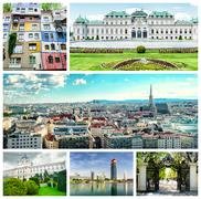 collage of vienna landmarks - stock photo
