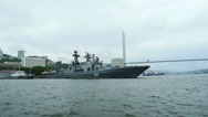 "Stock Video Footage of Large Anti-Submarine Ship ""Admiral Tributz"" moored at the Vladivostok Quay in Go"