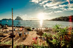 View of cala d'hort beach, ibiza Stock Photos