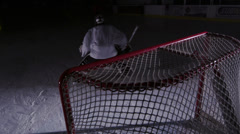 Team Sport - Ice Hockey - Big Save from Behind Stock Footage