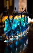 Blue lagoon cocktails Stock Photos