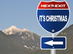 it's christmas road sign - stock illustration