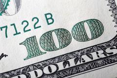 Macro american hundred dollar bill Stock Photos