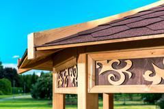 part of outdoor wooden gazebo - stock photo