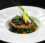 wild mushroom tartlet with vegetable salad - stock photo