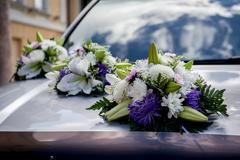 wedding car decoration - stock photo