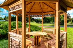 Inside of wooden gazebo Stock Photos