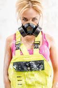 Female in respirator Stock Photos