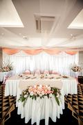 Wedding chair and table setting at restaurant Stock Photos